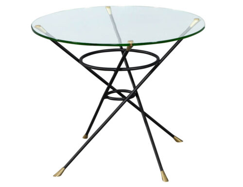 Vintage Bronze and Brass Cyclone Base Round Glass Modern Side Table