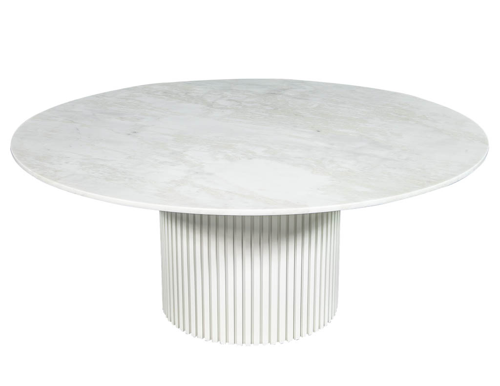 Custom Round White Marble Top Dining Table Carrocel Fine Furniture