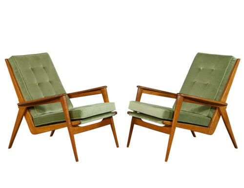 Pair of European Oak Vintage Mid-Century Modern Lounge Chairs