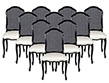 Set of 10 Sculpted Italian Louis XV Cane Back Black Lacquered Dining Chairs