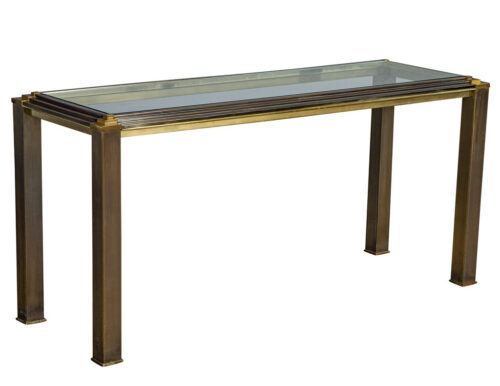 Vintage Glass Top Modern Brass Console Table