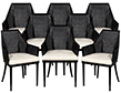Set of 8 Modern Black Cane Dining Chairs by Baker Kara Mann
