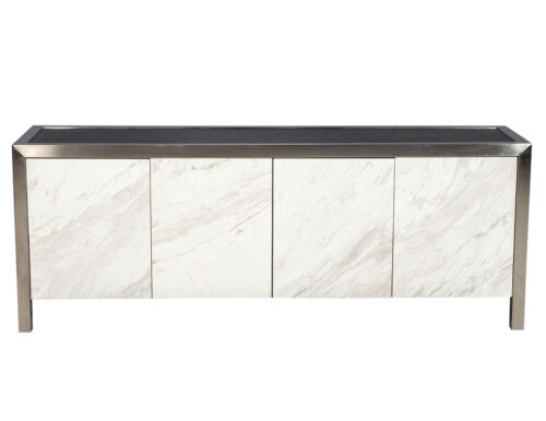 Stainless Steel Modern Console Sideboard with Stone Fronts