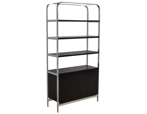 Modern Stainless Steel and Oak Bookcase Etagere
