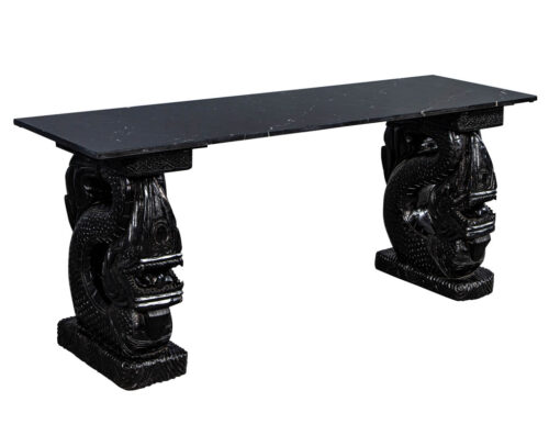 Asian Marble Top Console with Carved Dragon Pedestals