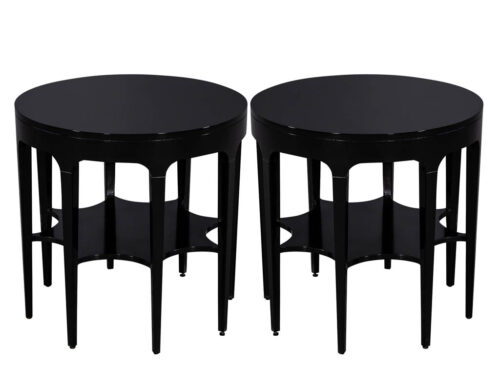 Pair of Round Black Modern Star Carved 2 Tier Side Tables