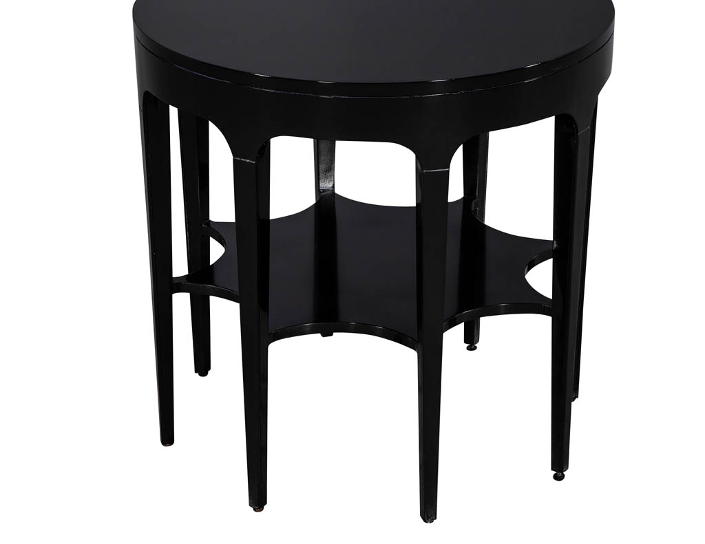 Pair Of Round Black Modern Star Carved 2 Tier Side Tables Carrocel Fine Furniture