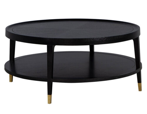 Modern Round Cerused Oak Coffee Table