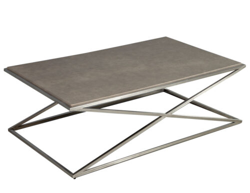 Modern Leather Top Metal Coffee Table with X Base