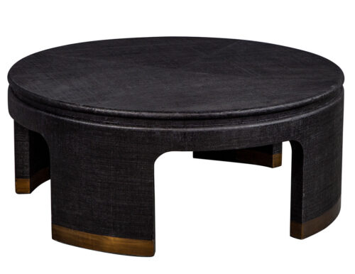 Modern Black and Brass Round Coffee Table
