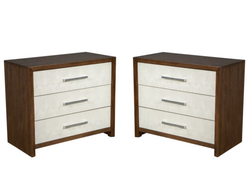 Pair of Shagreen Faced Oak Chest of Drawers by Hickory White