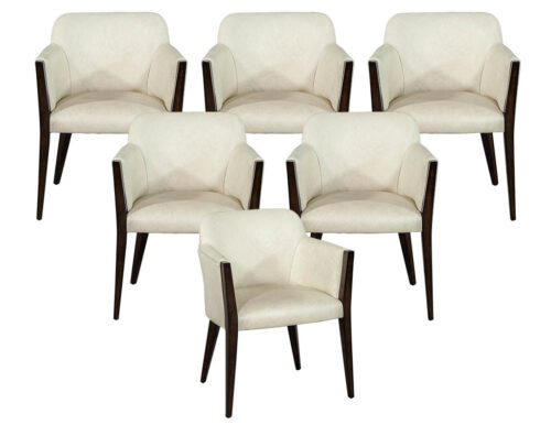 Set of 6 Flusso Custom Modern Leather Dining Chairs by Carrocel