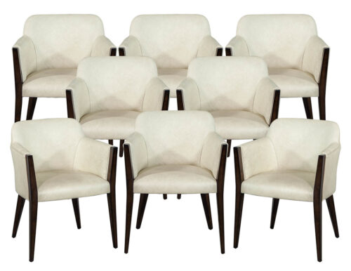 Set of 8 Custom Modern Leather Dining Chairs by Carrocel