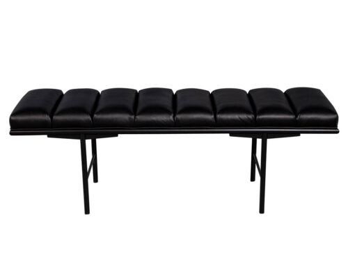 Sleek Modern Black Leather Accent Bench