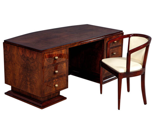 French Art Deco Flame Walnut Executive Desk with Chair
