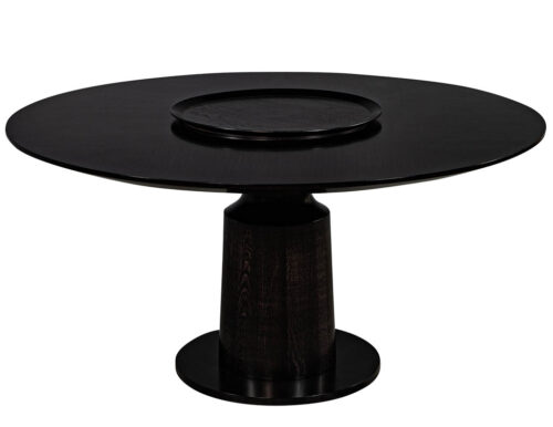 Custom Modern Round Black Oak Dining Table