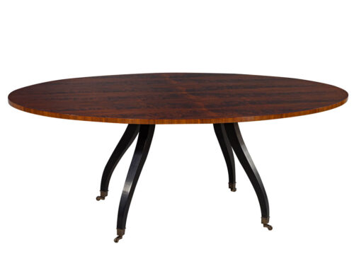 Feathered Walnut Oval Dining Table by Baker Furniture