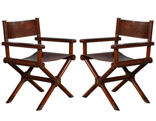 Pair of Directors Chairs in Distressed Leather