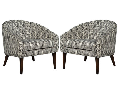 Pair of Mid Century Modern Black and White Lounge Chairs