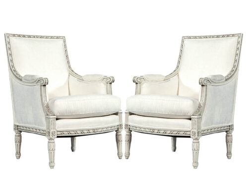 Pair of French Antique Louis XVI Antique Bergere Arm Chairs