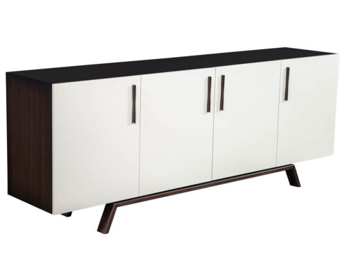Custom Modern Walnut Brass Sideboard Buffet
