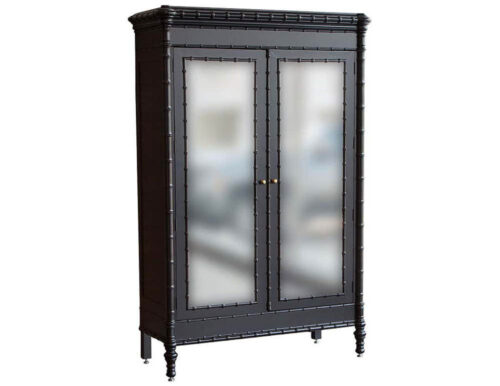 Modern Black Armoire Cabinet in Faux Bamboo