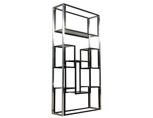 Modern Stainless Steel Smoked Glass Etagere