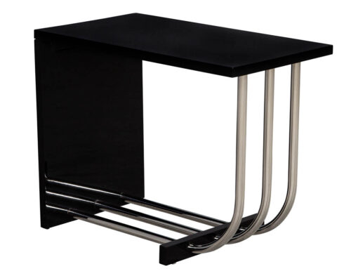 Ralph Lauren Tubular Polished Stainless Steel & Black Lacquer End Table