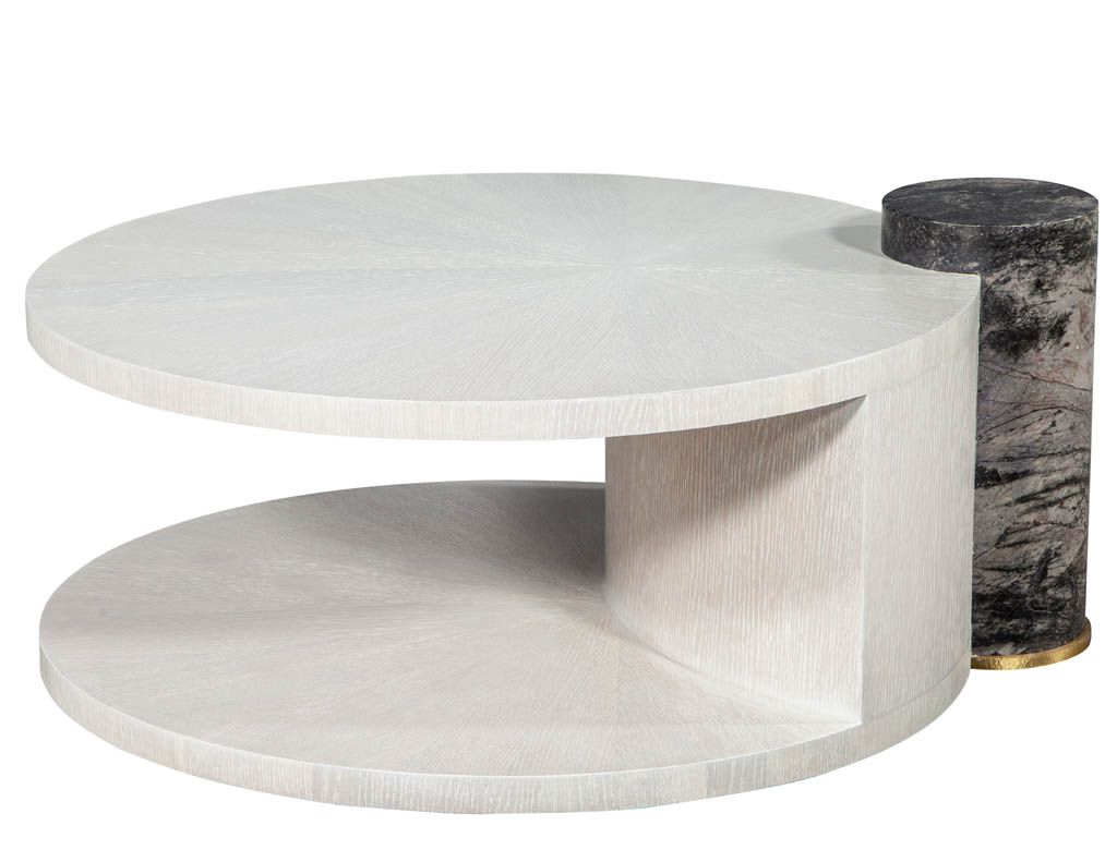Picture of: Modern Round Oak Cocktail Coffee Table With Marble Pillar Carrocel Fine Furniture