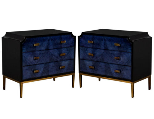 Pair of Modern Midnight Blue Nightstands End Tables