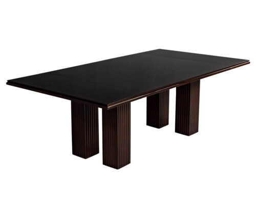 Modern Polished Mahogany Dining Table with Fluted Bases