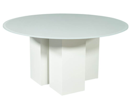 Custom Geometric Base Glass Top Dining Table