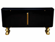 Modern Brass-Accented Black-Lacquer Credenza Buffet Sideboard