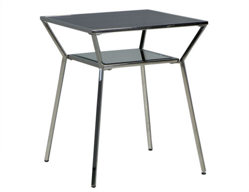 Smoked Glass Stainless Steel End Table