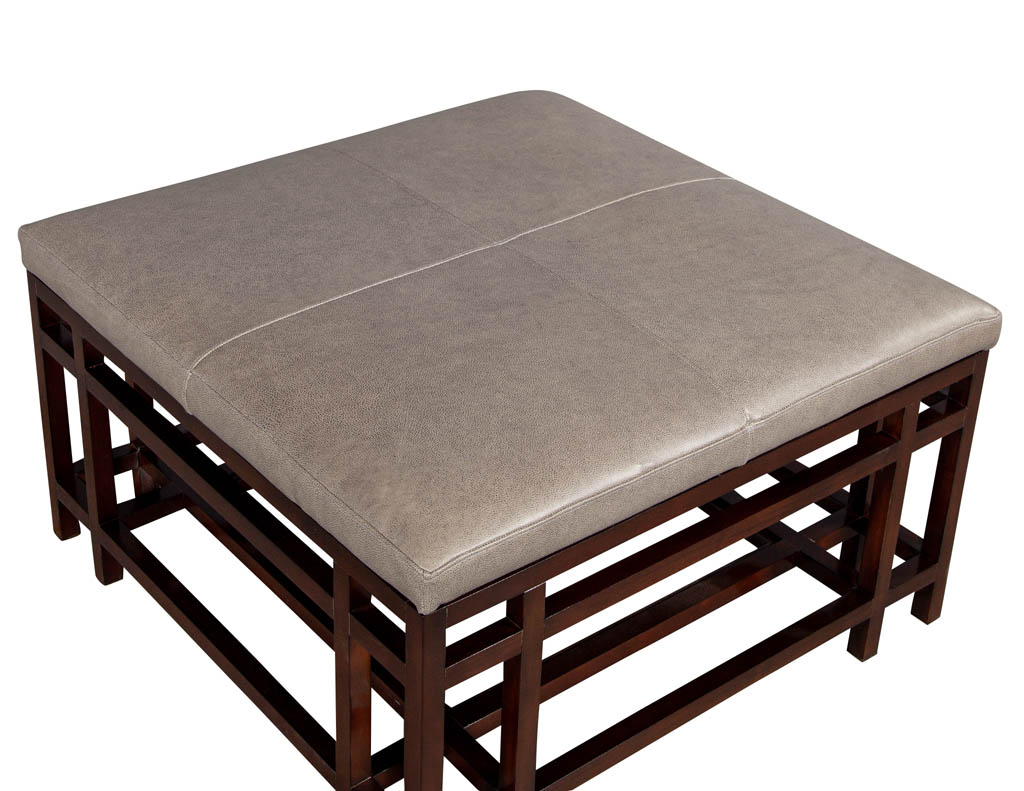 leather top coffee table ottoman by baker furniture carrocel fine furniture