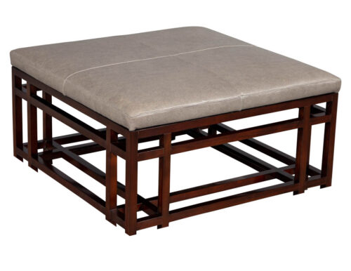 Leather Top Coffee Table Ottoman by Baker Furniture