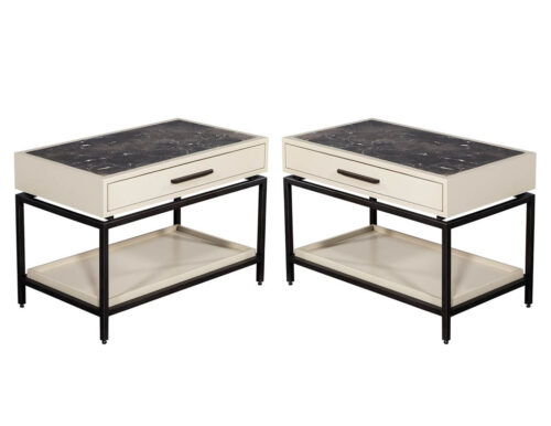 Pair of Contemporary Marble Top Night Stand End Tables
