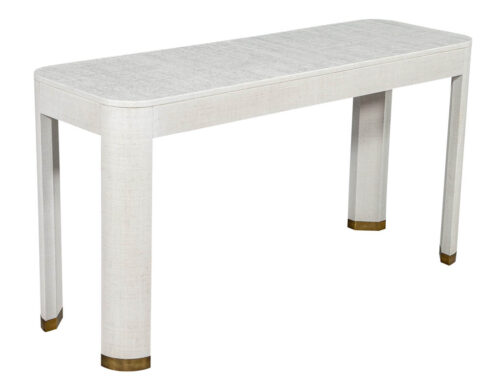Modern White Linen Clad Console Table