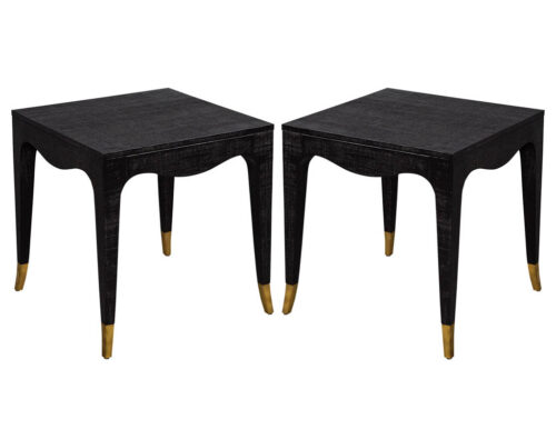 Pair of Modern Black Linen Clad Side Tables