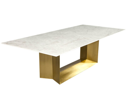 Custom Modern Porcelain Dining Table with Crystal Ice Top and Brass Angled Base