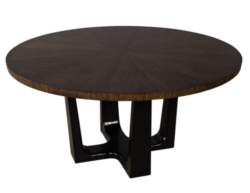 Round Modern Walnut Dining Table with Sunburst Top