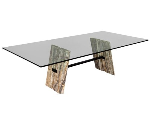 Custom Cantilever Stone Base Glass Top Dining Table