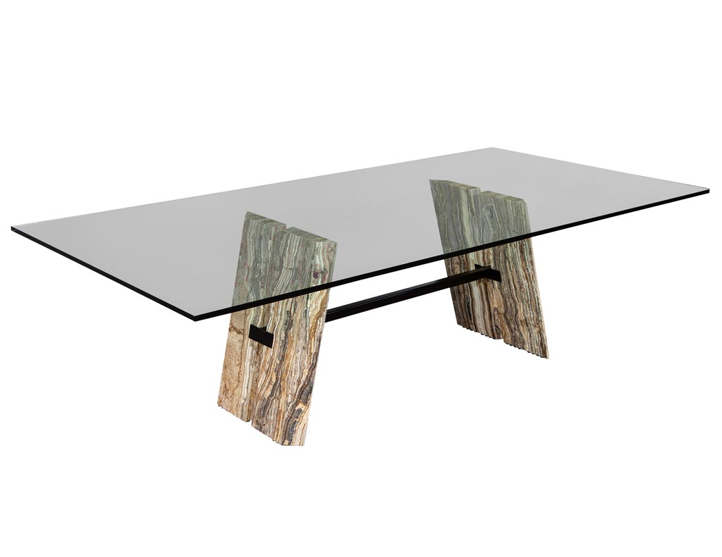 DS-5144-Custom-Cantilever-Stone-Base-Glass-Top-Dining-Table-001