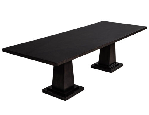 Custom Modern Charcoal Dining Table with Diamond Pattern Inlay