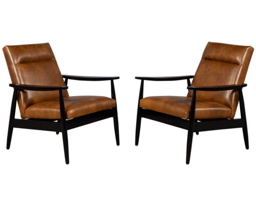 Pair of Custom Mid-Century Modern Style Leather Accent Chairs