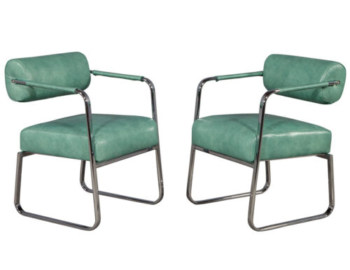 Pair of Leather Vintage Modern Roll Back Accent Chairs