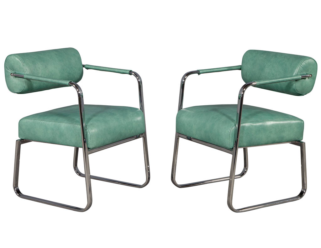 LR-3252-Pair-of-Vintage-Modern-Leather-Metal-Lounge-Chairs-Roll-Back-001