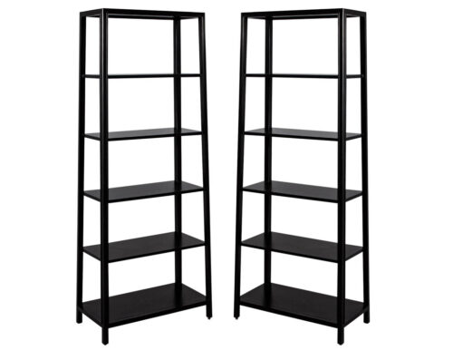 Pair of Modern Black Bookcases in Solid Wood