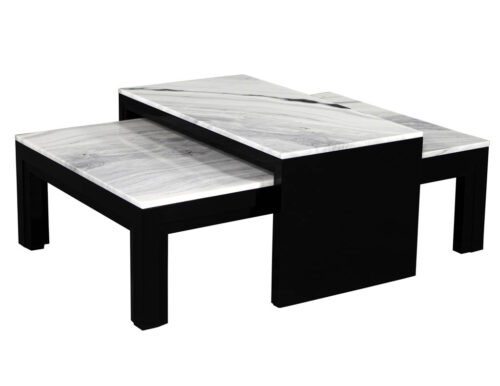 Custom Modern Stone Top Cocktail Table with Nesting Table Design