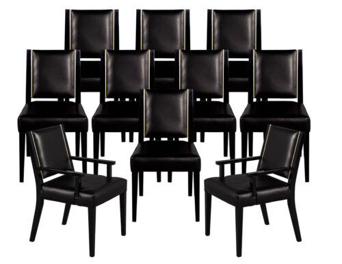 Set of 10 Custom Modern Black Leather Dining Chairs with Brass Detailing